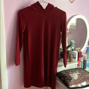 Dark red forever 21 hoodie dress for girls